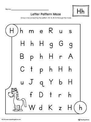 Letter H Pattern Maze Worksheet