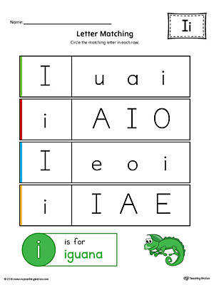 Letter I Uppercase and Lowercase Matching Worksheet Color