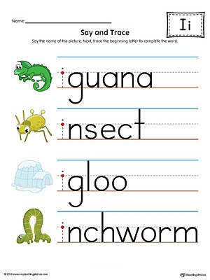Words With Letter I Say And Trace Short Letter I Beginning Sound Words Worksheet