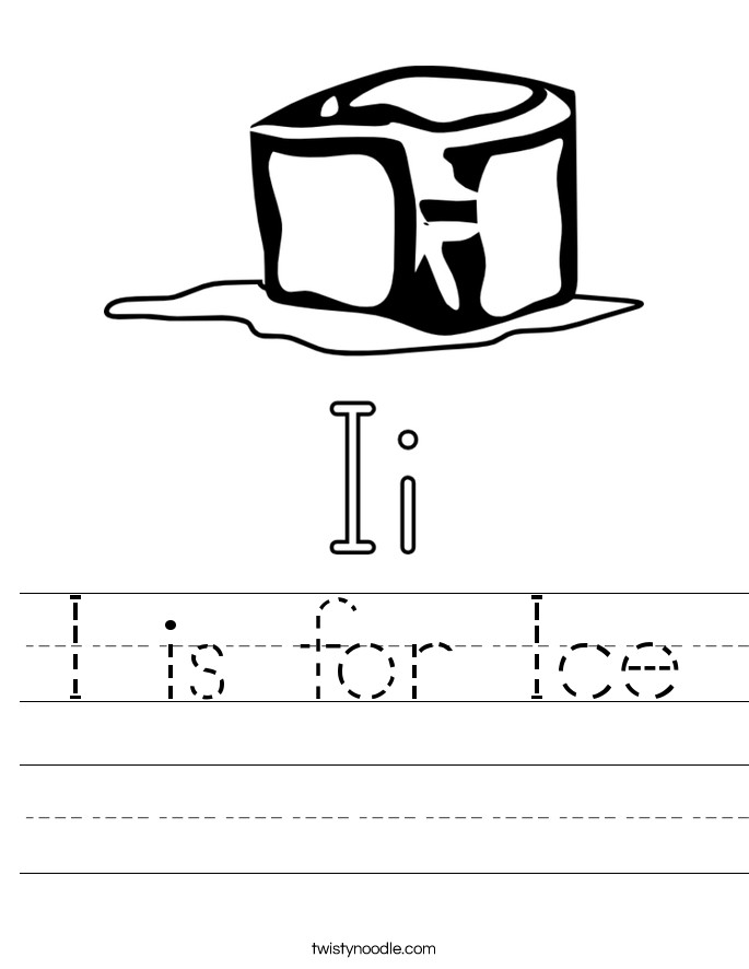 I is for Ice Handwriting Sheet