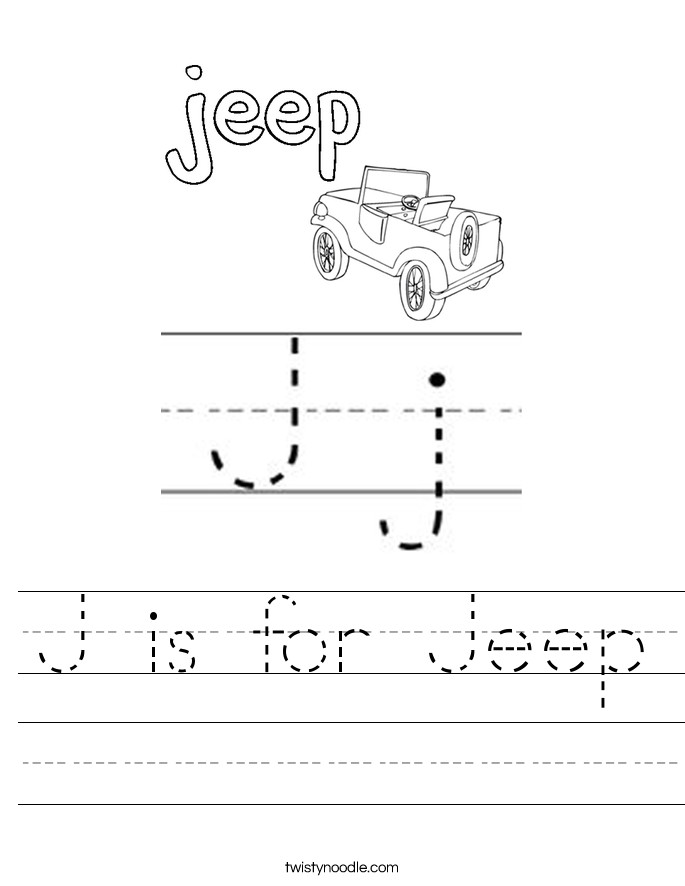 J is for Jeep Handwriting Sheet