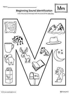 Letter M Beginning Sound Color Worksheet