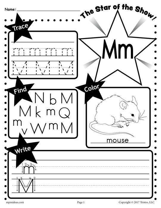 M Star of the show Letter worksheet