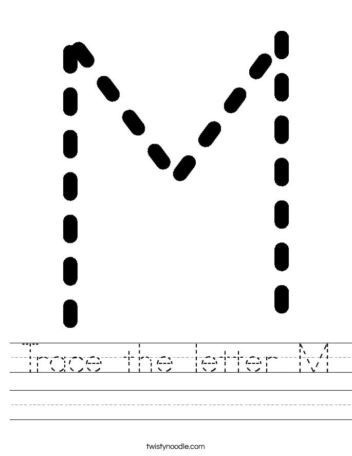 Trace the letter M Handwriting Sheet