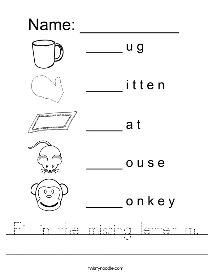 Fill in the missing letter m Handwriting Sheet