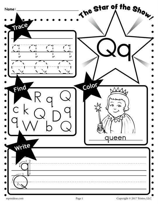 Q Star of the show Letter worksheet