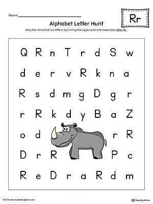 Alphabet Letter Hunt Letter R Worksheet Color