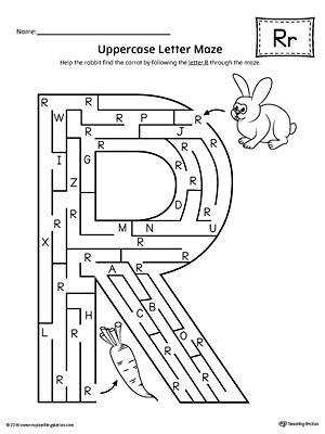 Uppercase Letter R Maze Worksheet