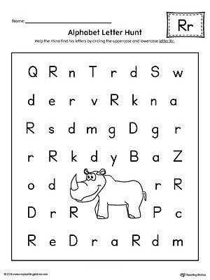 Alphabet Letter Hunt Letter R Worksheet