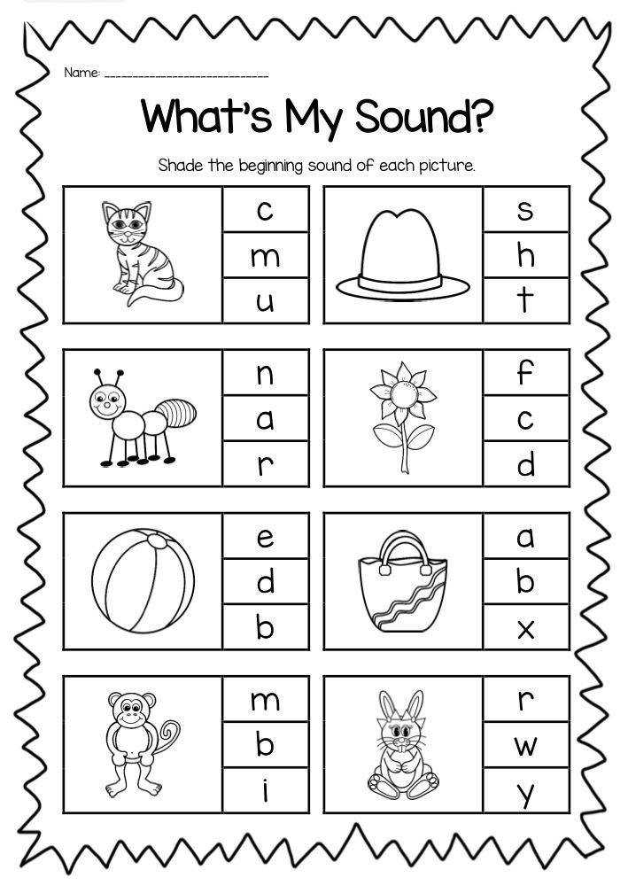 Beginning Sounds Printable Worksheet Pack Kindergarten Phonics