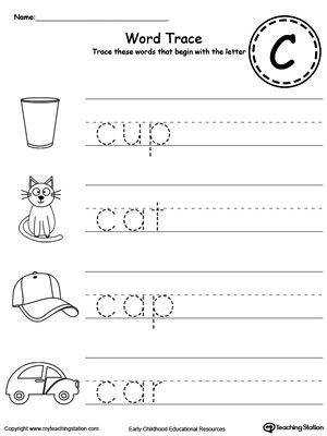 Trace Words That Begin With Letter Sound C