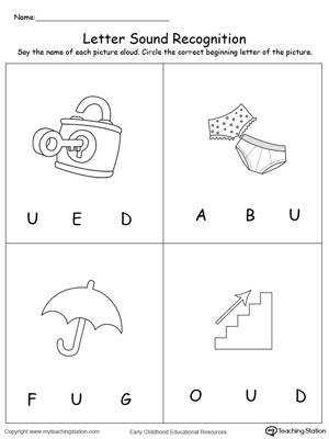 Recognize the Sound of the Letter U DownloadFREE Worksheet