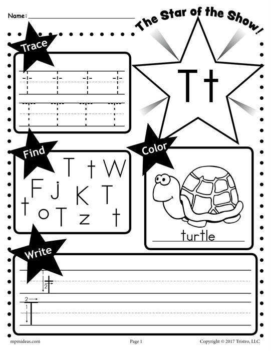 T Star of the show Letter worksheet