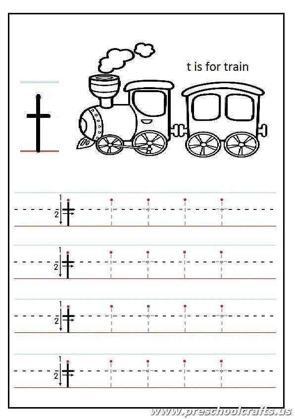 Lowercase letter T Worksheets Kindergarten and 1 st grade t is for train coloring