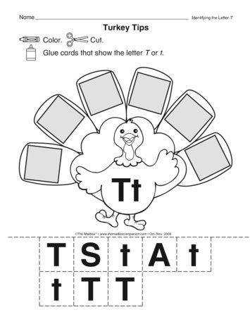 T is for turkey This worksheet provides practice with uppercase and lowercase letter recognition