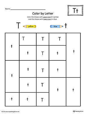 Uppercase Letter T Color by Letter Worksheet