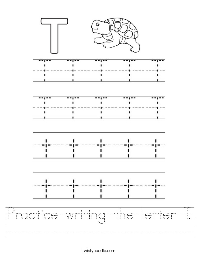 Practice writing the letter T Worksheet