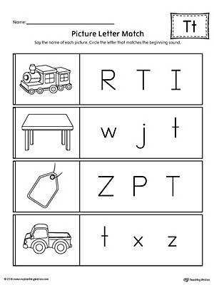 Picture Letter Match Letter T Worksheet