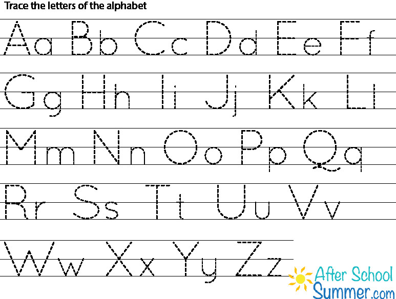 Free Printable Alphabet Tracing Letters