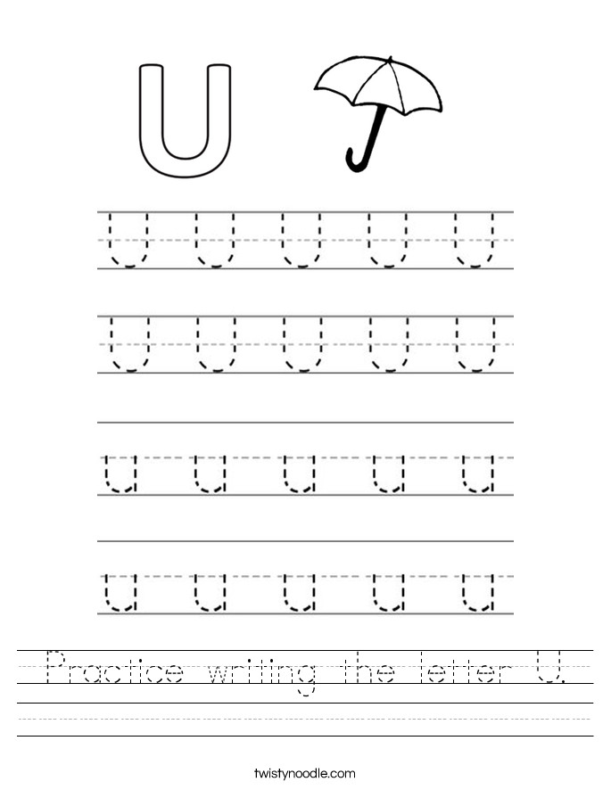 Practice writing the letter U Worksheet