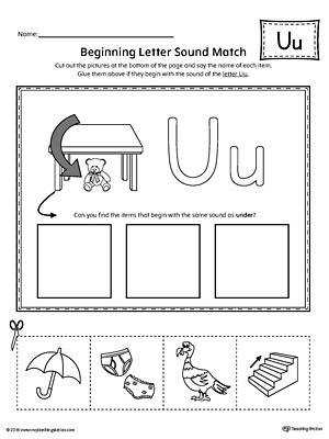 Short Letter U Beginning Sound Picture Match Worksheet