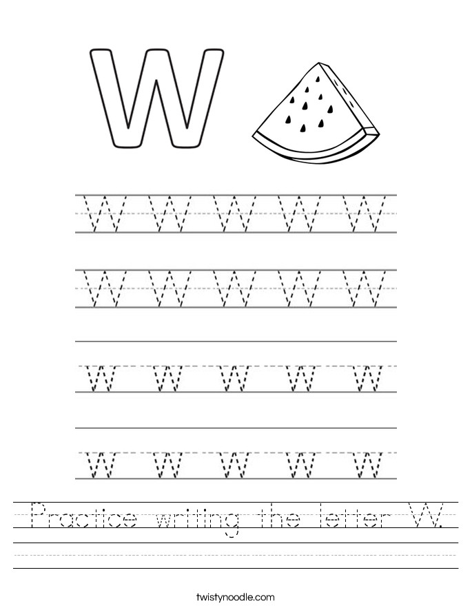 Practice writing the letter W Handwriting Sheet