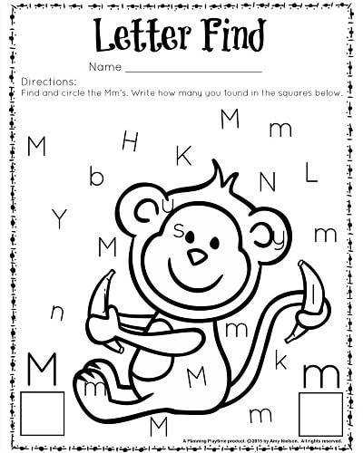 Letter Find worksheet for kindergarten and preschool Great for letter recognition and counting