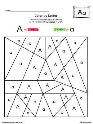 Uppercase Letter A Color by Letter Worksheet