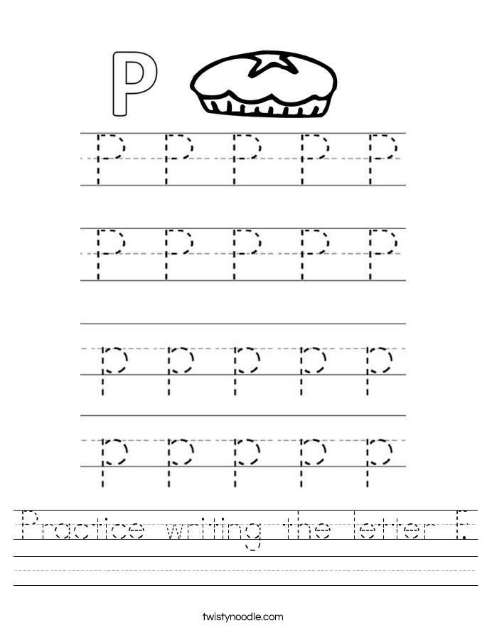 Practice writing the letter P Worksheet