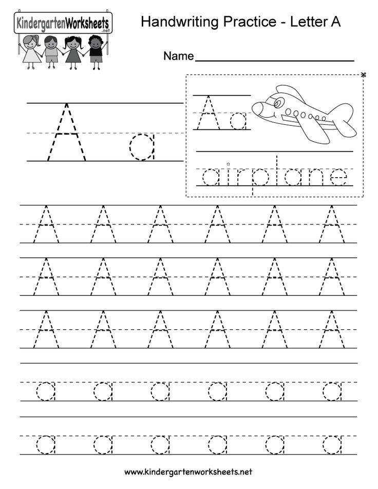 Kindergarten Letter A Writing Practice Worksheet This series of handwriting alphabet worksheets can also be