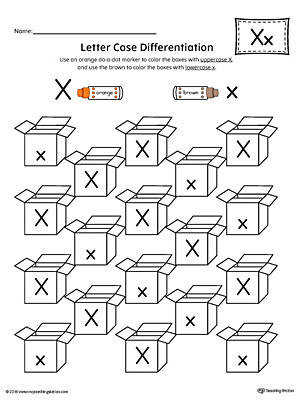 Letter Case Recognition Worksheet Letter X