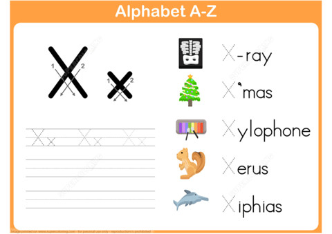 to see printable version of Letter X Tracing Worksheet Puzzle game