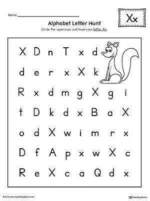 Alphabet Letter Hunt Letter X Worksheet
