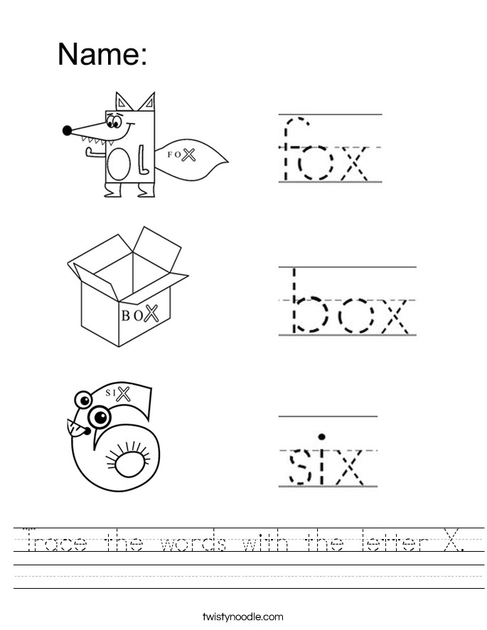 Trace the words with the letter X Handwriting Sheet