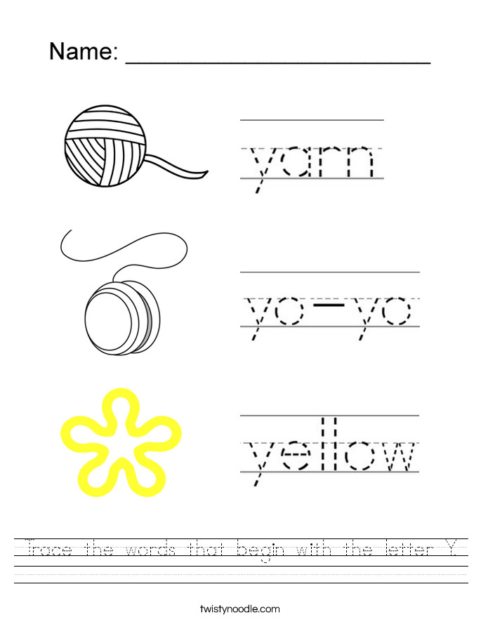 Trace the words that begin with the letter Y Worksheet