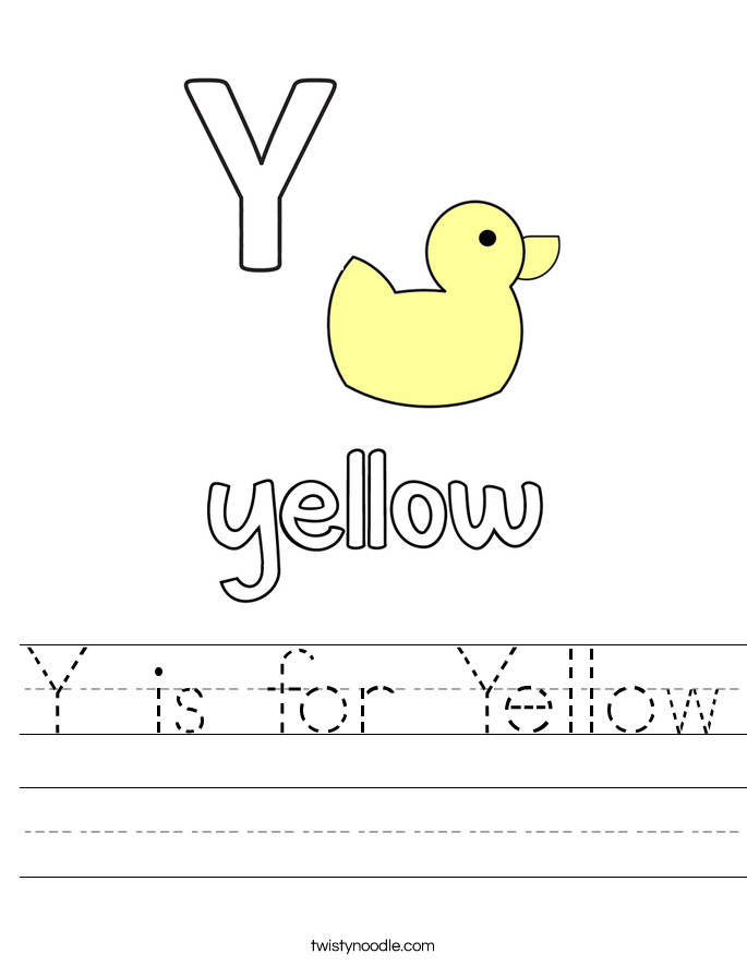 Y is for Yellow Handwriting Sheet