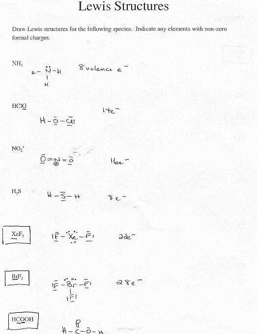 Lewis Dot Diagram Worksheet With Answers