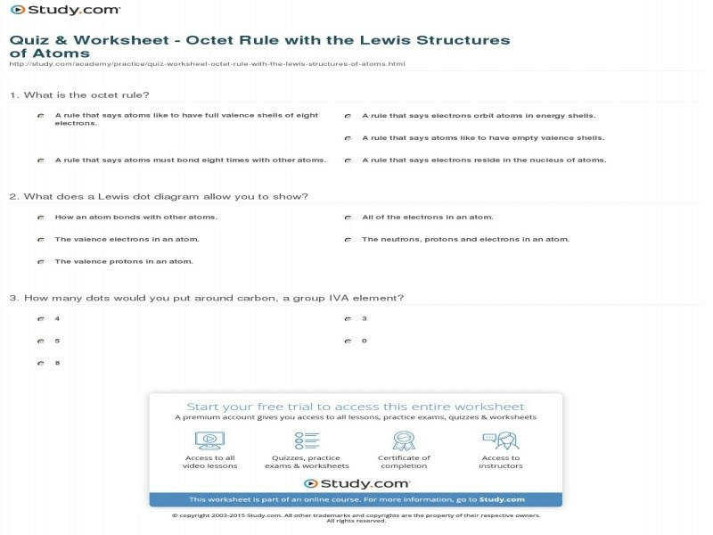 Quiz & Worksheet – Octet Rule With The Lewis Structures