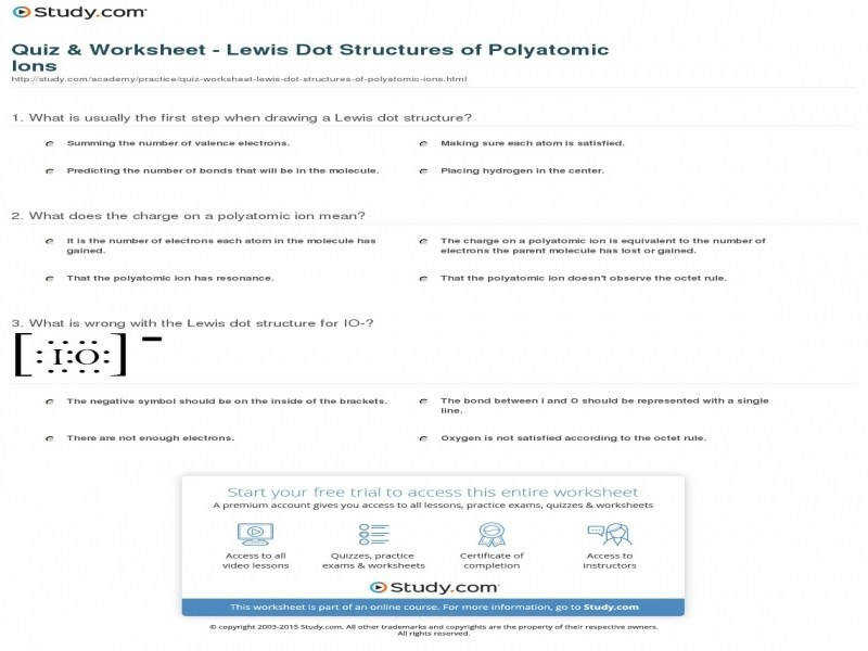 Quiz & Worksheet – Lewis Dot Structures Polyatomic Ions