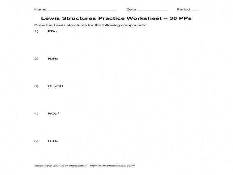 Lewis Structures Practice Worksheet