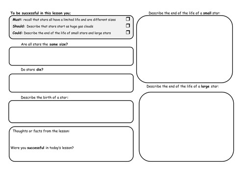 Life of a Star Worksheet GCSE by Rachael Ann Teaching Resources Tes