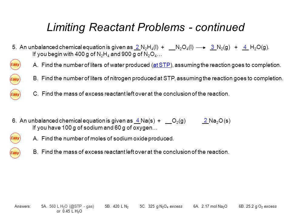 Limiting Reactant Problems continued