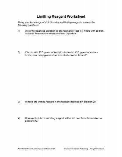 Limiting Reagent Worksheets 1 2 2 Limiting Reagent Worksheet 1