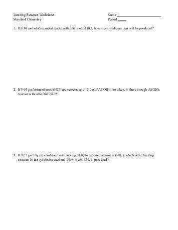 Limiting reactant worksheet 1 intrepidpath reagent worksheets 2 google docs