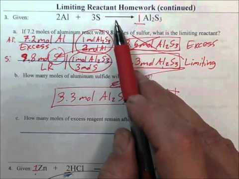 Limiting Reactant Homework Problem 3 Key