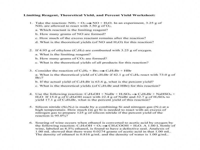 Limiting Reagent Theoretical And Actual Yields Worksheet