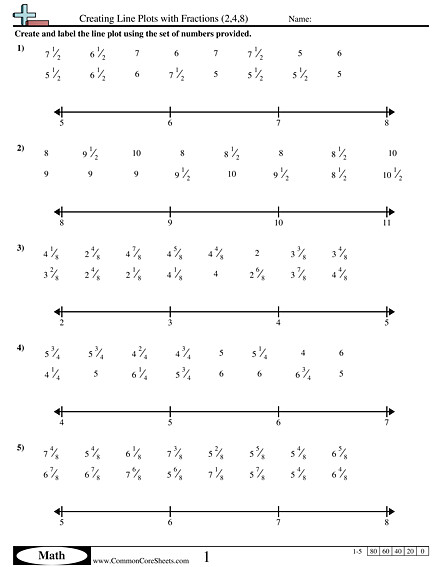 Creating Line Plots with Fractions 2 4 8 worksheet
