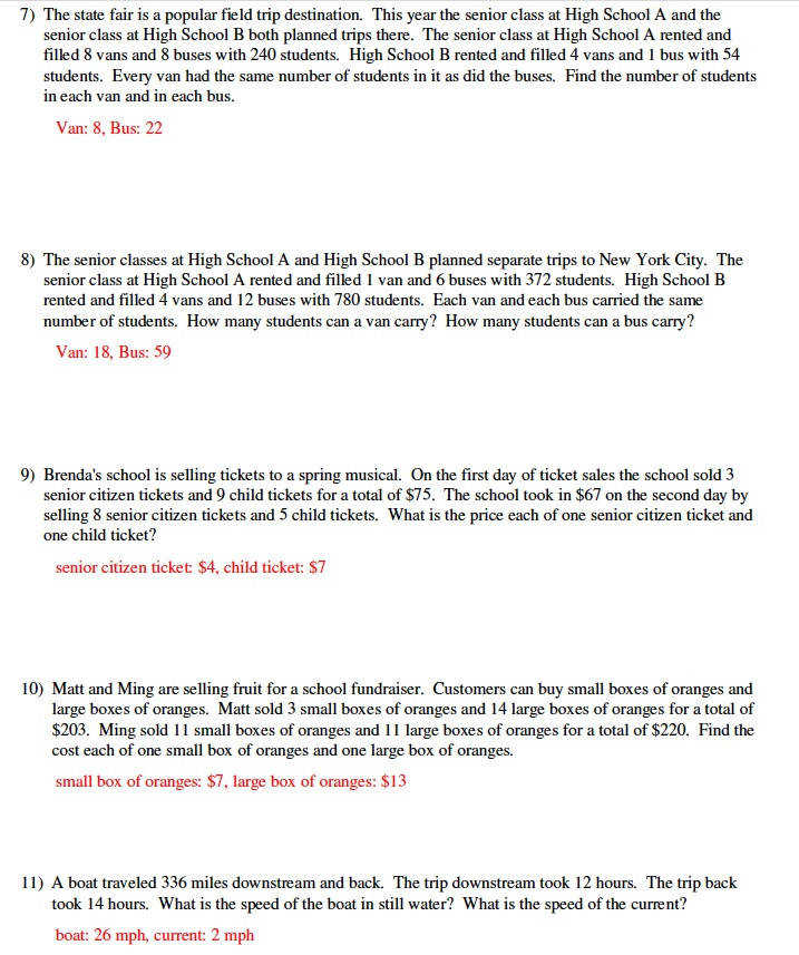 Systems of Equations Word Problems Classroom Ideas