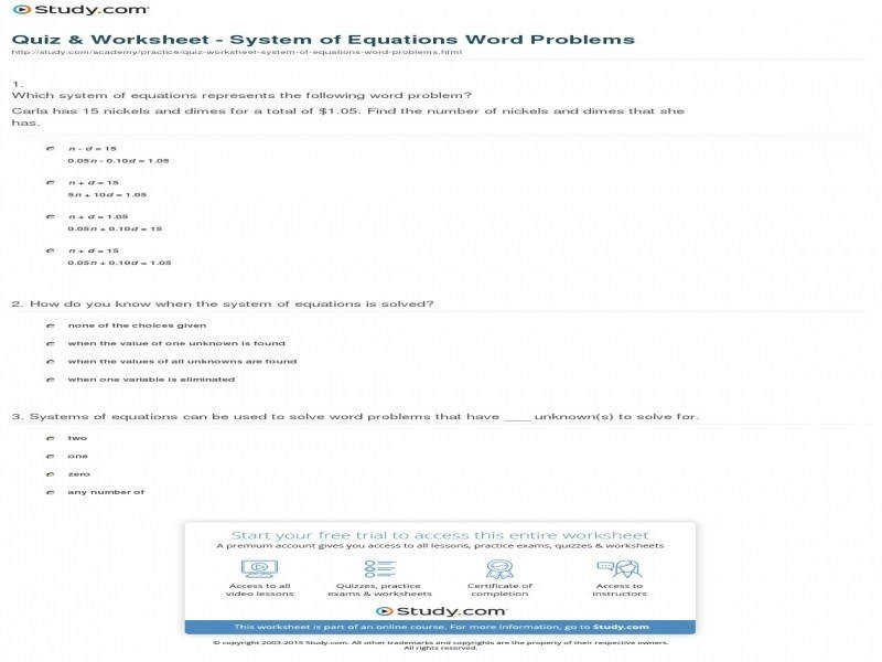 Quiz & Worksheet System Equations Word Problems