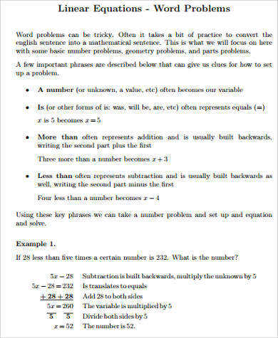linear equations word problems worksheet sample word problem worksheet 9 examples in pdf word free